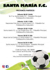 Partido Futbol Dr.P vs Sta.María @ Pabellón principal Polideportivo Zaburdón | San Lorenzo de El Escorial | Comunidad de Madrid | España